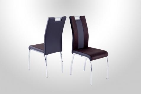 4 x Stühle dunkelbraun Chrom Stuhlset Esszimmer günstig preiswert hochwertig