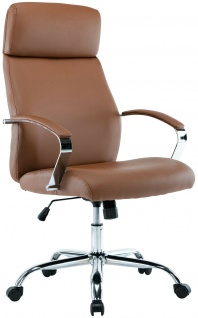 XL Chefsessel 136 kg belastbar hellbraun Kunstleder Bürostuhl modern design NEU