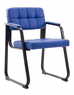 Besucherstuhl blau schwarz Kunstleder Wartezimmer Messe Lehnstuhl modern design