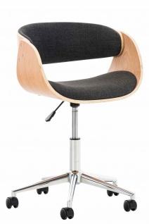 Bürostuhl Holzrahmen Stoffbezug natur dunkelgrau Sitzsachale Drehstuhl modern