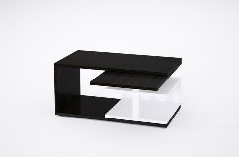 design Couchtisch Wenge weiß Sofatisch drehbar ausziehbar Funktion bi colour