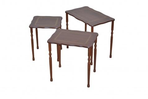 3er Beistelltisch Set nußbaum Dreisatztisch Beitisch Holz Verzierung design