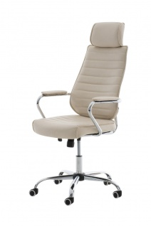 Bürostuhl 120kg belastbar Kunstleder creme Chefsessel hochwertig modern design