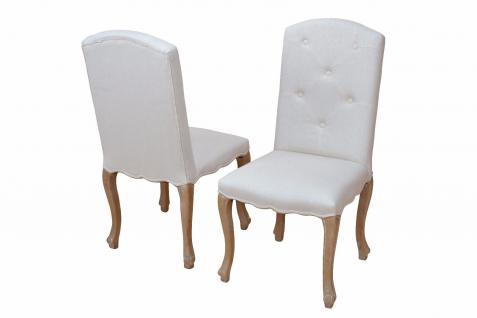 2er-Set Esszimmerstühle beige massivholz Polsterstuhl Sitzgruppe Stühle design