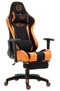 XXL Bürostuhl 136kg belastbar schwarz orange Chefsessel Fußablage Zockersessel