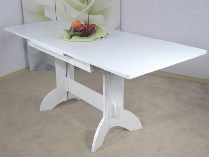 moderner Auszugtisch weiß ausziehbar Wangentisch Esstisch Esszimmertisch Auszug
