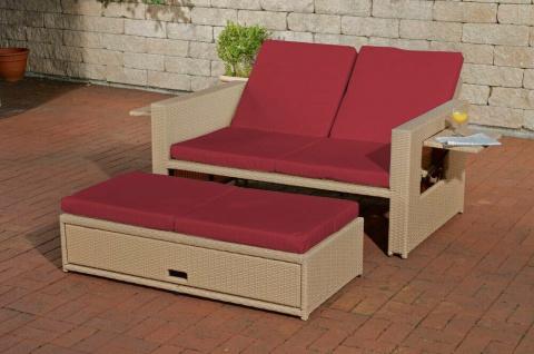 Poly-Rattan 2er Sonnenliege sand / rot Gartencouch zwei Personen Doppelliege