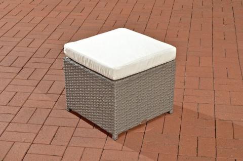 Polyrattan Garten Hocker grau inkl. Kissen Auflage Lounge Garten Terrasse