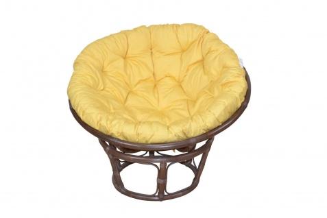 Papasansessel braun gelb Ø 100 Auflage Kissen Rattansessel Relaxsessel günstig