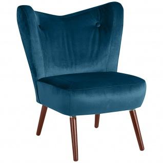 Retro Sessel Samtvelours Einzelsessel Wohnzimmer Loungesessel Vintage design