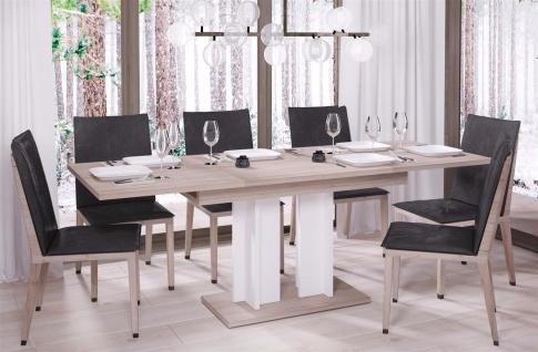 design Säulentisch San Remo hell weiß Esstisch zweifarbig ausziehbar modern
