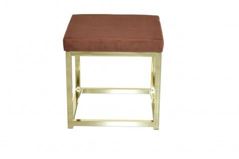 moderner Hocker braun / Messing Hockerbank Polsterhocker Sitz design Sitzwürfel