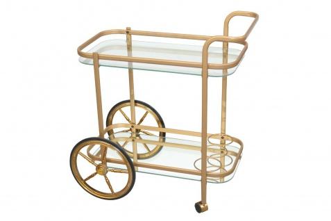 Servierwagen goldfarben Teewagen Dessert Beistellwagen Küchenwagen fahrbar