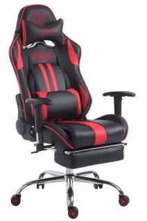 Chefsessel schwarz rot Kunstleder Bürostuhl Kopfstütze Fußstütze Zocker Gamer