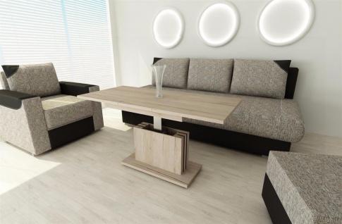 Couchtisch San remo Eiche weiß ausziehbar Wohnzimmer design modern Sofatisch