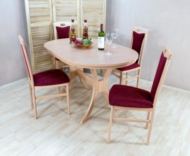 moderne Tischgruppe Buche massivholz natur bordeauxrot Esstisch Tisch design