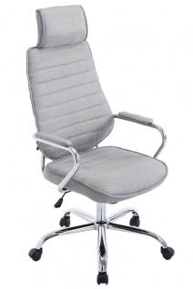Bürostuhl 120 kg belastbar Stoffbezug hellgrau Chefsessel Kopfstütze modern