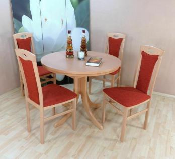 Essgruppe 5 tl.g Buche natur Terrakotta Tischgruppe modern design Stuhlset Tisch