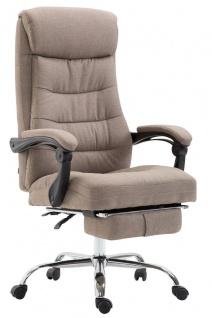 XL Bürostuhl belastbar 136kg Stoffbezug taupe Chefsessel Fußstütze modern design