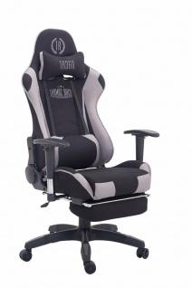 Chefsessel 150 kg belastbar schwarz grau Stoff Bürostuhl Fußablage Zocker Gamer