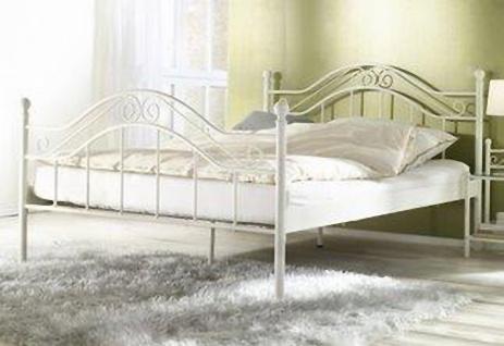 Himmelbett weiß 140 x 200cm Himmel Bett Metallbett romantisch Ehebett Doppelbett