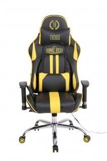 Bürostuhl schwarz gelb Kunstleder Chefsessel Drehstuhl Wärme- Massagefunktion