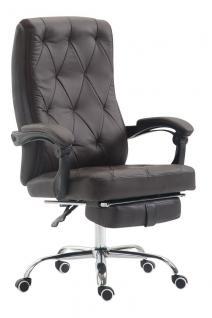 Chefsessel 136 kg belastbar braun Kunstleder Bürostuhl Fußablage modern design