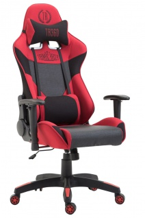 XL Racing Bürostuhl 136kg belastbar Stoffbezug schwarz rot Chefsessel Zocker
