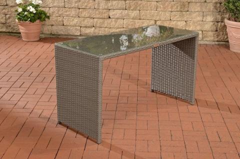 Gartentisch Polyrattan grau Terrassentisch Rattantisch Glastisch Garten Balkon