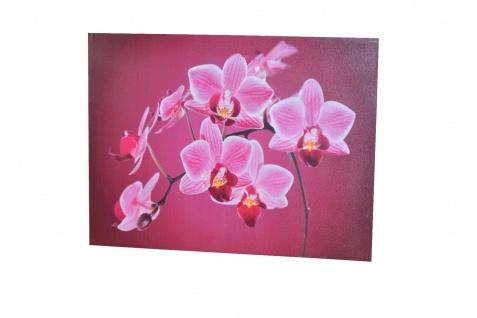LED-Wandbild Orchideen Blüte 4 Lämpchen Leinwand massivholz-Gestell Wanddeko