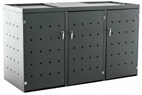 3er Mülltonnenverkleidung anthrazit Aluminium mit Deckel Mülltonnenbox / Schutz