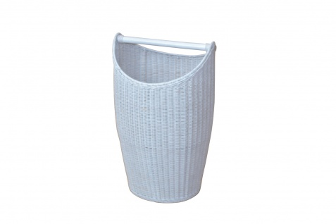 trendiger Wäschekorb weiß Rattanrohr handgeflochten Wäschetruhe Wäschebox Griff