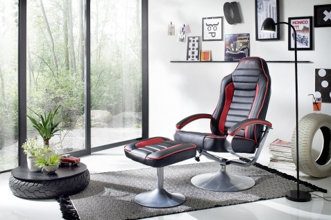 Relaxsessel mit Hocker schwarz rot Fernsesessel Relaxset modern design günstig