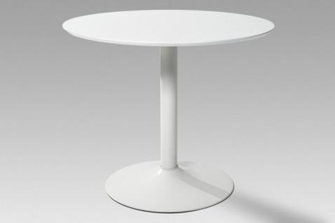 Esstisch Esszimmertisch Küchentisch Tisch Hochglanz weiss weiß rund modern