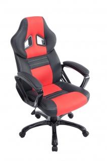 XL Bürostuhl 150kg belastbar schwarz rot Kunstleder Chefsessel hochwertig stabil