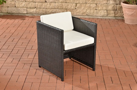 Polyrattan Gartenstuhl schwarz inkl. Kissen Auflage Lounge Garten Terrasse