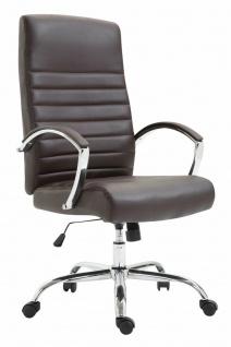 XL Bürostuhl bis 136 kg belastbar Kunstleder braun Chefsessel Drehstuhl stabil