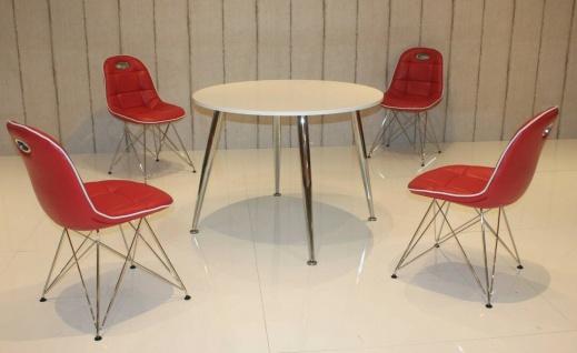 Tischgruppe rot weiß Essgruppe Esszimmergruppe Schalenstuhl modern design A6