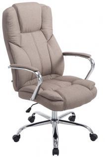 XXL Bürostuhl bis 210 kg belastbar für schwere Personen Chefsessel taupe Stoff