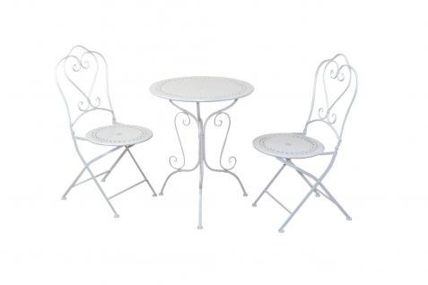 3 teilige Metall Tischgruppe romantisch Stühle Tisch cremeweiß antik Vintage neu