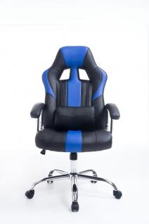Bürostuhl 150 kg belastbar schwarz blau Kunstleder Chefsessel schwere Personen - Vorschau 2