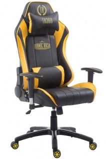 Chefsessel 150kg belastbar schwarz gelb Kunstleder Bürostuhl Gaming Zocker Gamer