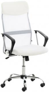 klassischer Bürostuhl weiß Netzbezug 140kg belastbar Chefsessel Drehstuhl stabil