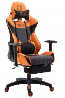 Bürostuhl schwarz orange Stoff Fußablage Chefsessel Zocker Gaming 136 belastbar