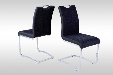4 x Schwingstuhl schwarz Webstoff Stuhlset Freischwinger günstig preiswert neu