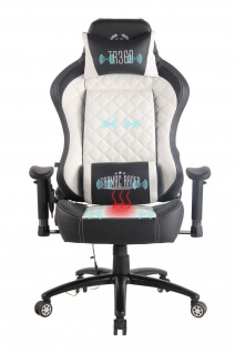 Chefsessel weiß Kunstleder Bürostuhl mit Wärme/Massage Gaming Gamer Zockersessel