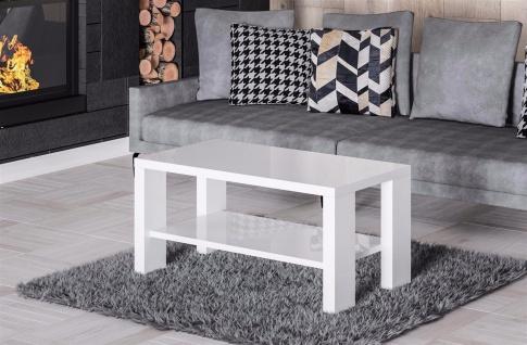 moderner Couchtisch Hochglanz weiß 100 x 55cm Wohnzimmertisch Sofatisch design