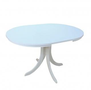 Auszugtisch rund weiß massivholz Esszimmertisch Wohnzimmertisch ausziehbar