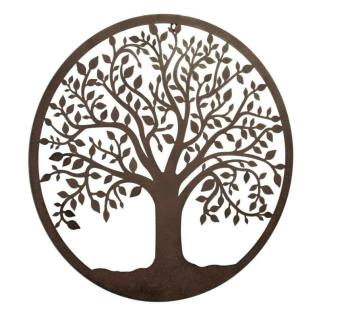 """runde Wanddeko """" Baum"""" Metall Wandbild Wandschmuck Wandrelief modern NEU"""