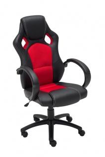 Bürostuhl schwarz rot Chefsessel Kunstleder stabil robust preiswert günstig